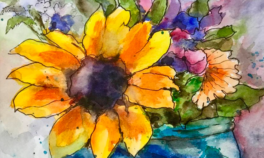 Flowers in Water painting